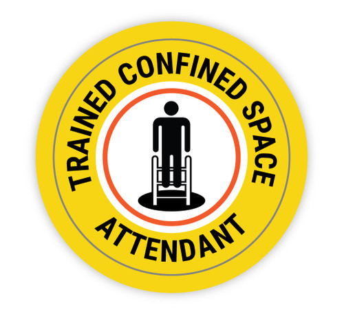 Trained Confined Space Attendant - Hard Hat Sticker