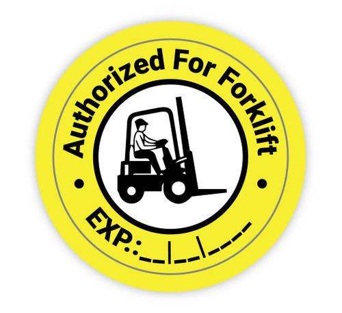 Authorized For Forklift Wite In Expiration Date - Hard Hat Sticker