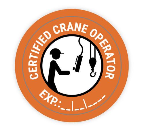 Certified Crane Operator Write In Experation Date - Hard Hat Sticker