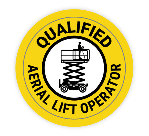 Qualified Aerial Lift Operator Yellow - Hard Hat Sticker