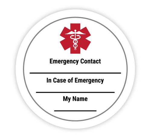 Medical Alert with Write in Contact and Emergency Info - Hard Hat Sticker