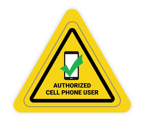 Authorized Cell Phone User Triangle - Hard Hat Sticker
