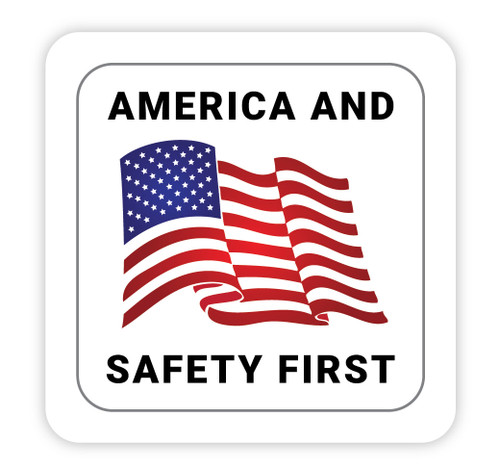 America and Safety First - Hard Hat Sticker