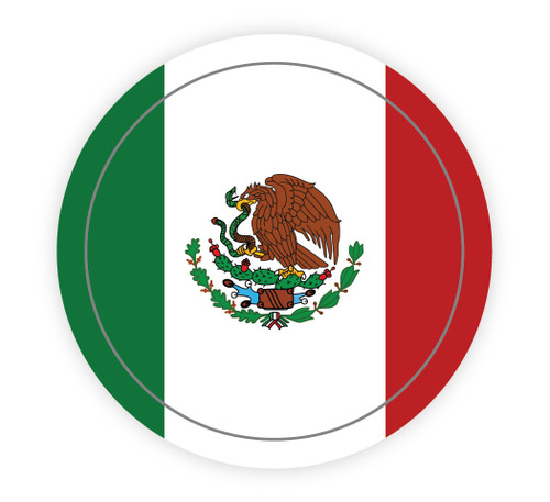 Mexican Flag Circle - Hard Hat Sticker