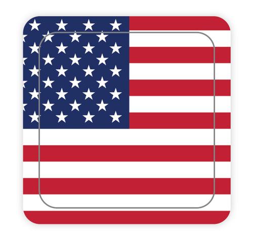 American Flag Square - Hard Hat Sticker