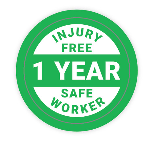 Injury Free Safe Worker 1 Year - Hard Hat Sticker