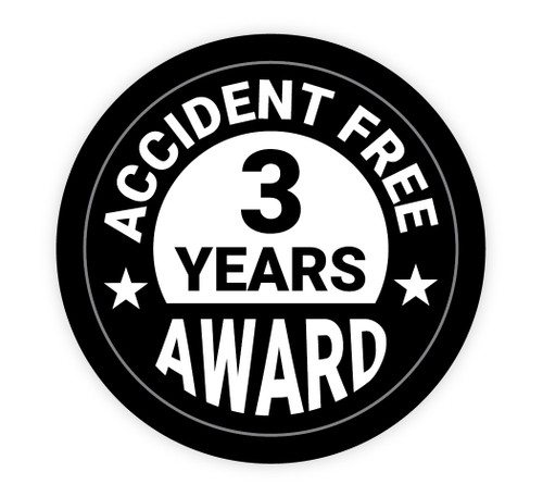 Accident Free Award 3 Years - Hard Hat Sticker