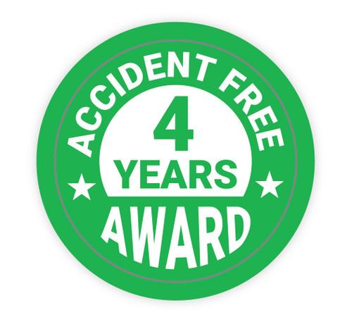 Accident Free Award 4 Years - Hard Hat Sticker