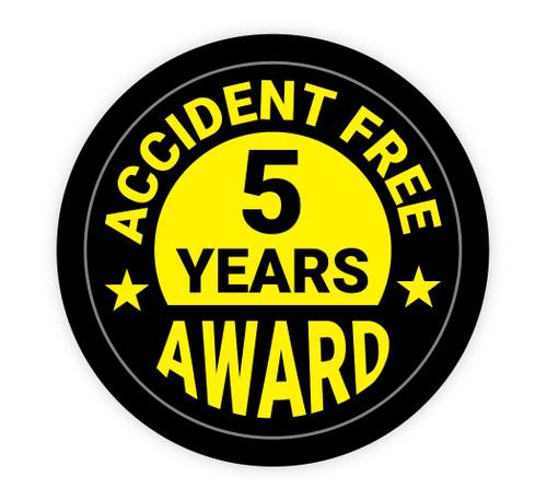 Accident Free Award 5 Years - Hard Hat Sticker