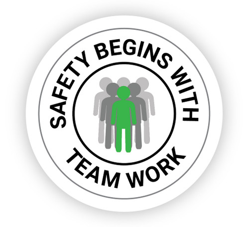 Safety Begins with Team Work with Icon - Hard Hat Sticker