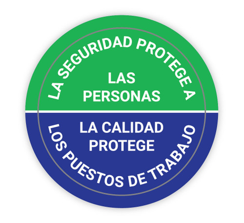 Safety Protects People/Quality Protects Jobs - Spanish - Hard Hat Sticker