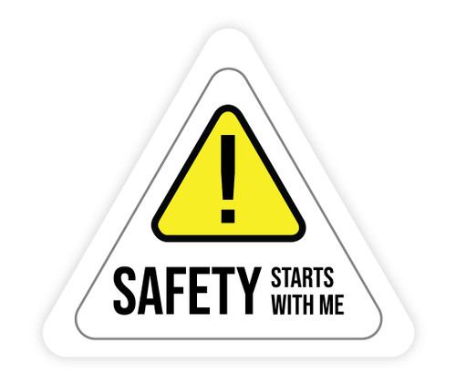 Safety Starts With Me Triangle White - Hard Hat Sticker