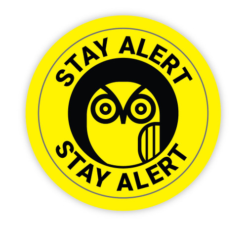 Stay Alert with Owl Icon - Hard Hat Sticker