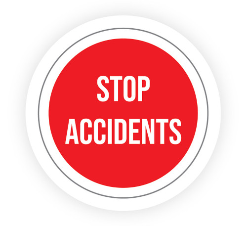 Stop Accidents Red - Hard Hat Sticker