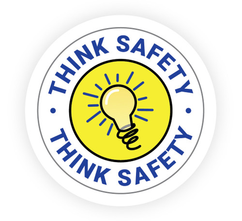Think Safety with Light Bulb Icon - Hard Hat Sticker