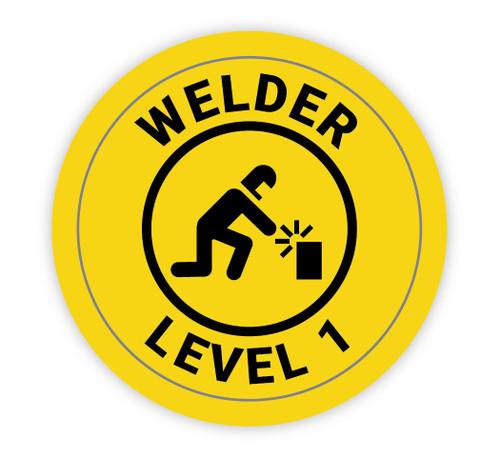 Welder Level 1 Yellow with Icon - Hard Hat Sticker