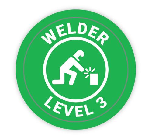 Welder Level 3 Green with Icon - Hard Hat Sticker
