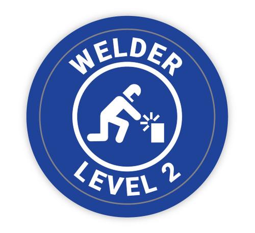 Welder Level 2 Blue with Icon - Hard Hat Sticker