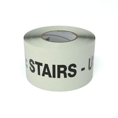 SafetyTac® Glow Caution: Stairs - Use Railing - Inline Printed Floor Marking Tape