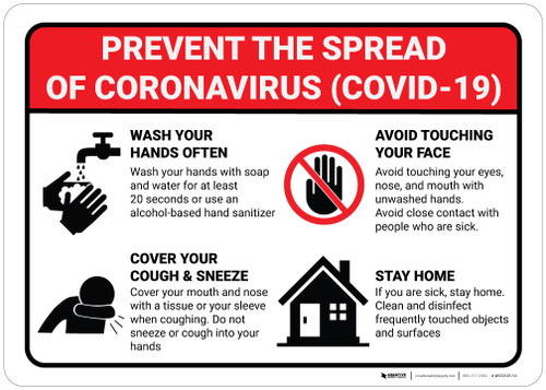 Prevent the Spread of Coronavirus - Wall Sign