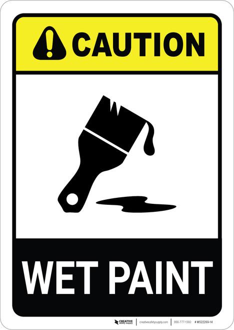 Caution: Wet Paint with Icon ANSI Portrait