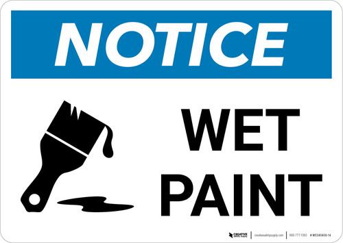 Notice: Wet Paint with Icon Landscape
