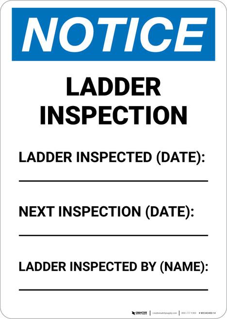 Notice: Ladder Inspection Portrait