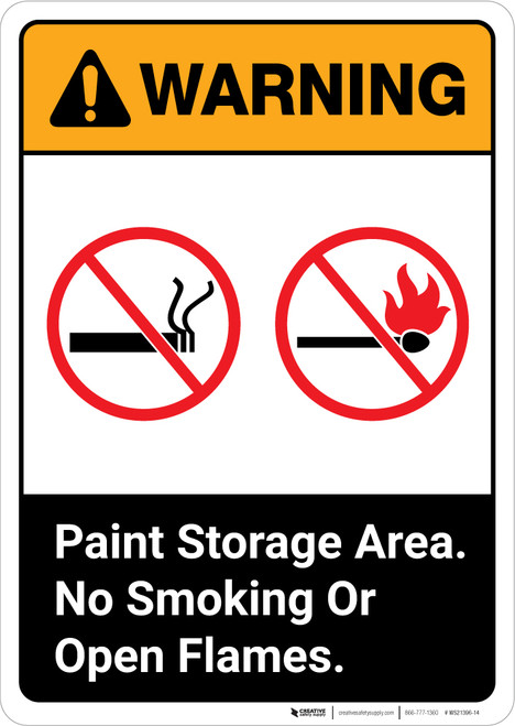 Warning: Paint Storage Area No Smoking Or Open Flames ANSI Portrait