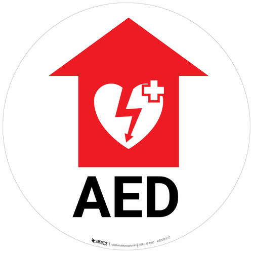 AED with Icon and Arrow - Floor Sign