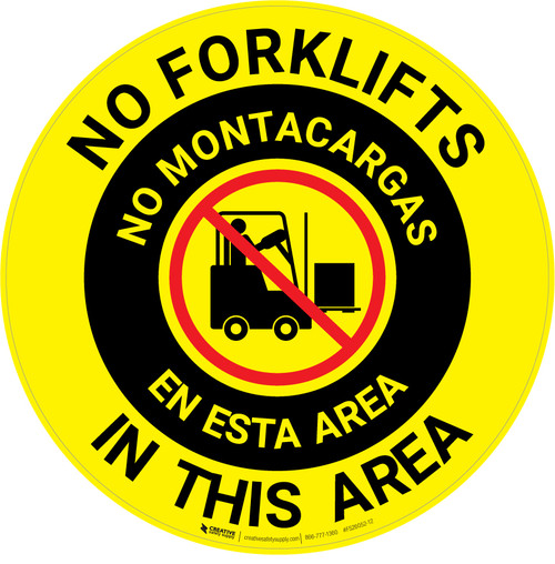 No Forklifts In This Area Bilingual Spanish - Floor Sign