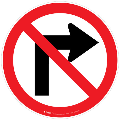 No Right Turn Sign Floor Sign