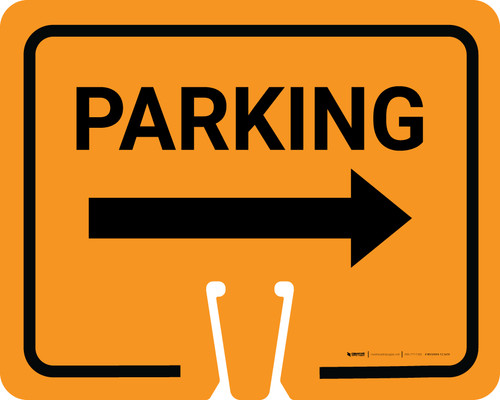 Parking with Right Arrow Clip-On Cone Sign