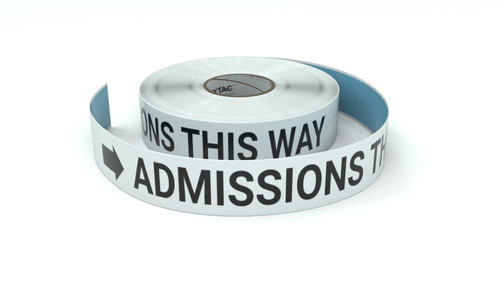 Admissions This Way With Right Arrow - Inline Printed Floor Marking Tape