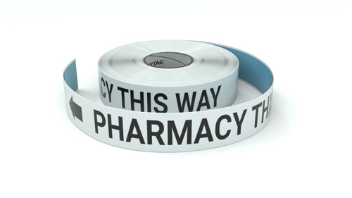Pharmacy This Way With Left Arrow - Inline Printed Floor Marking Tape