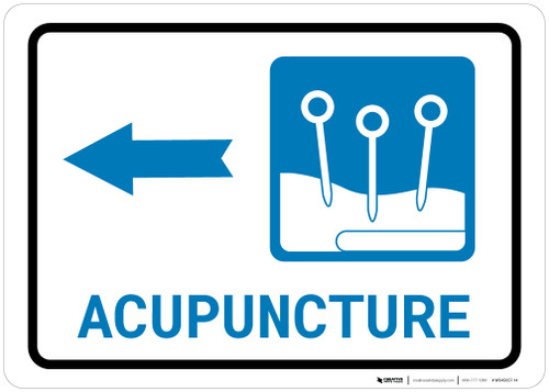 Acupuncture Left Arrow with Icon Landscape - Wall Sign