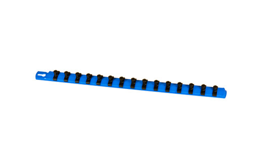 "18"" Socket Organizer and 15 Twist Lock Clips - Blue - 3/8"""