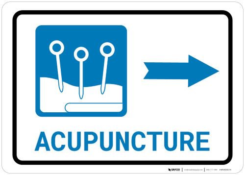 Acupuncture Right Arrow with Icon Landscape - Wall Sign