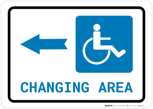 ADA Accessible Changing Area Left Arrow with Icon Landscape - Wall Sign