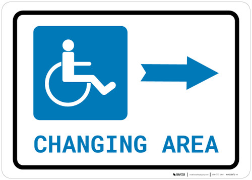 ADA Accessible Changing Area Right Arrow with Icon Landscape - Wall Sign