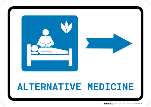 Alternative Medicine Right Arrow with Icon Landscape - Wall Sign