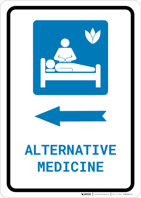Alternative Medicine Left Arrow with Icon Portrait - Wall Sign