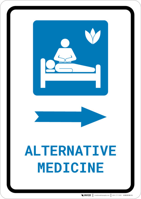 Alternative Medicine Right Arrow with Icon Portrait - Wall Sign