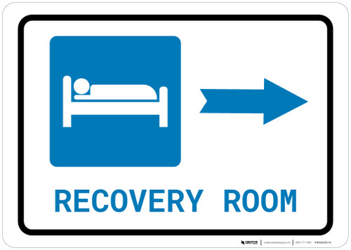 Recovery Room Right Arrow with Icon Landscape - Wall Sign