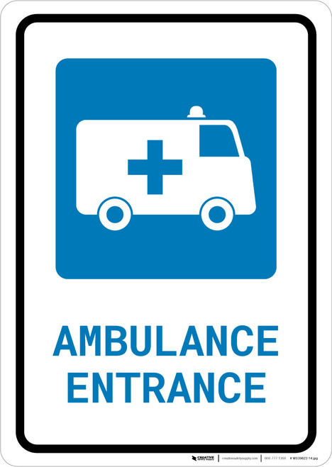 Ambulance Entrance with Icon Portrait - Wall Sign