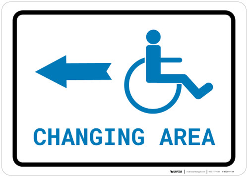 ADA Accessible Changing Area Left Arrow with Icon Landscape v2 - Wall Sign