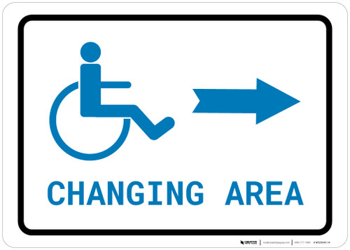 ADA Accessible Changing Area Right Arrow with Icon Landscape v2 - Wall Sign