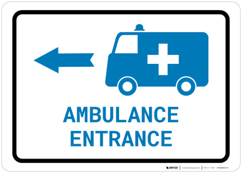 Ambulance Entrance Left Arrow with Icon Landscape v2 - Wall Sign