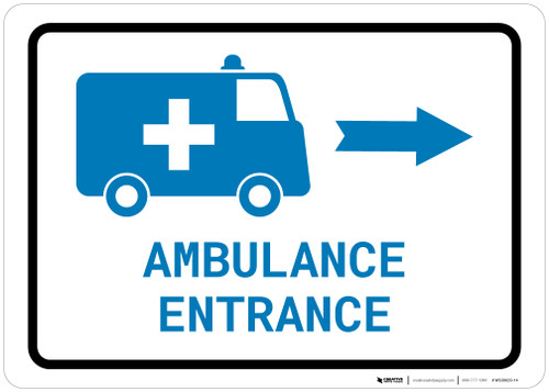 Ambulance Entrance Right Arrow with Icon Landscape v2 - Wall Sign