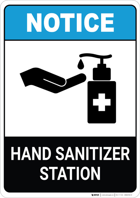 Notice: Hand Sanitizer Station ANSI Portrait - Wall Sign