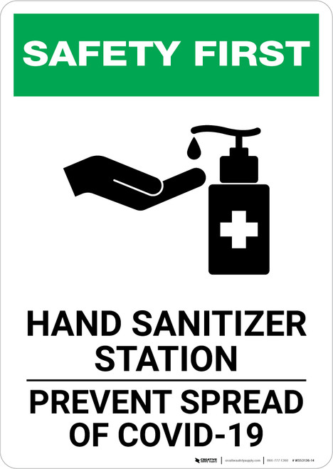 Safety First: Hand Sanitizer Station COVID-19 Portrait  - Wall Sign